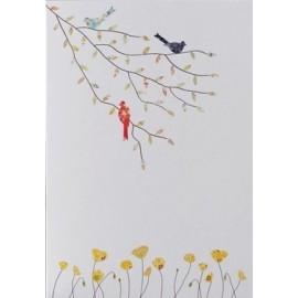 Dubbele kaart Three Birds & Poppies