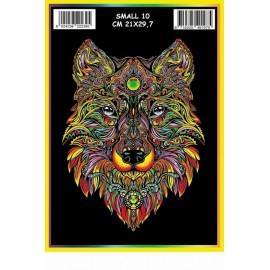 Vilten Kleurplaat Wolf met Viltstiften