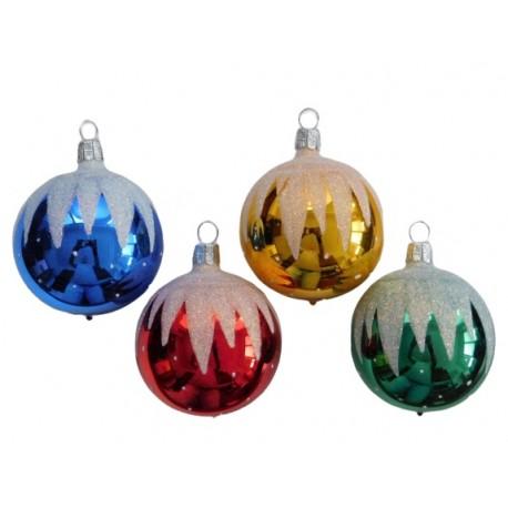 Set van 4 Retro Kerstballen met Sneeuw