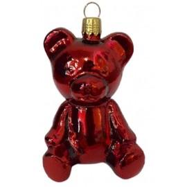 Kerstbal Teddy Beer Rood