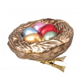 Kerstbal Nest met Eieren op Clip