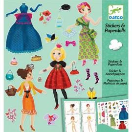 Djeco Knutselpakket Stickers en Poppetjes van papier Mode
