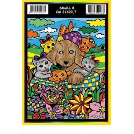 Vilten Kleurplaat Hond en Kittens met Viltstiften