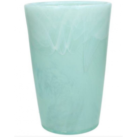 Vaas Recycled glas Turquoise Wit H25