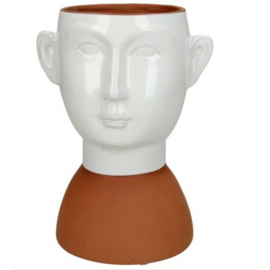 Bloempot Face Terracotta Wit H19