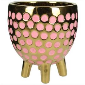 Bloempot op poten Goud Roze H13