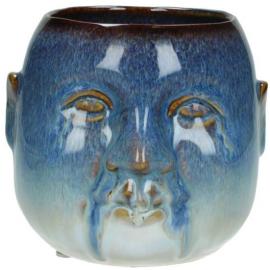 Bloempot Face Blauw H14