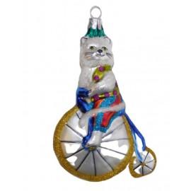 Kerstbal Circus Kat op Fiets