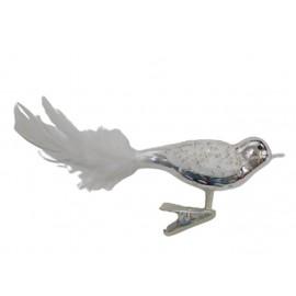 Zilver Retro Vogeltje op Clip