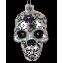 Kerstbal Skull Zilver Bloem