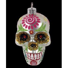 Kerstbal Skull Zilver Hart