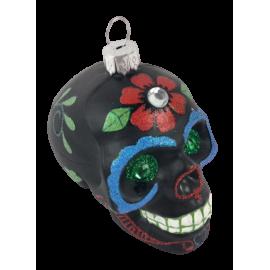 Kerstbal Skull Zwart Blauw
