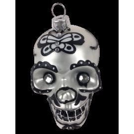 Kerstbal Skull Zilver Zwart