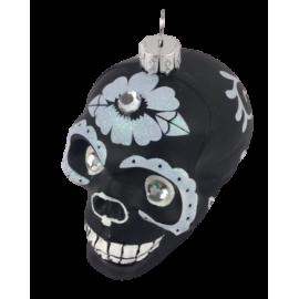 Kerstbal Skull Zwart Wit