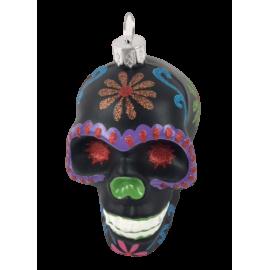 Kerstbal Skull Zwart Paars