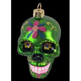Kerstbal Skull Groen