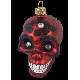 Kerstbal Skull Rood