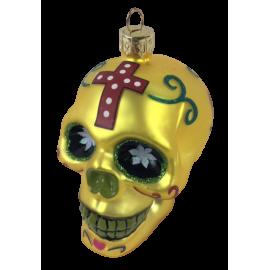 Kerstbal Skull Geel