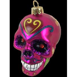 Kerstbal Skull Roze