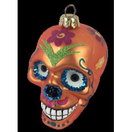 Kerstbal Skull Oranje