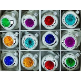 Rertro Kerstballen Set van 12  Zilver-kleur
