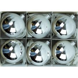 Set van 6 Zilveren Retro Kerstballen met Sneeuw
