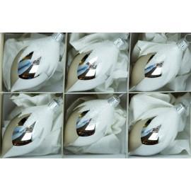 Set van 6 Zilveren Druppel Retro Kerstballen met Sneeuw