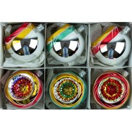 Set van 6 Retro Reflector Kerstballen 8cm Ornex 02
