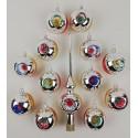 Set van 12 Retro Dubbel Reflector Kerstballen met Piek Ornex 06