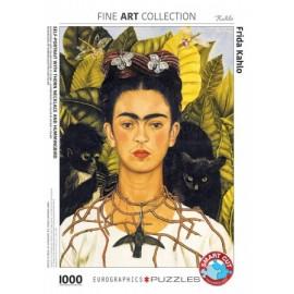 Leg Puzzel Frida Kahlo Zelfportret met Kolibrie 1000st.