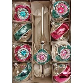 Set van 8 Retro Kerstballen Ø 6cm Mint-Roze met piek