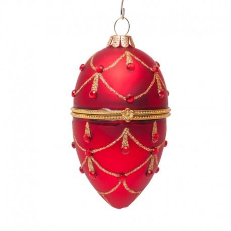 Kerstbal Faberge Ei Rood met Diamantjes