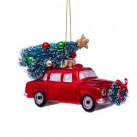 Kerstbal Rode Auto met Kerstboom