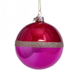Kerstbal Rood-Fuchsia met Glitter Rand
