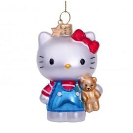 Kerstbal Hello Kitty Blauw met Beer