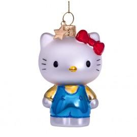 Kerstbal Hello Kitty in Blauwe Broekpak