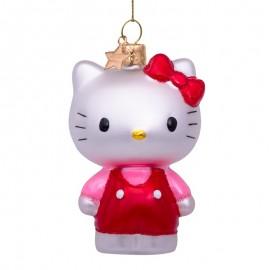 Kerstbal Hello Kitty in Roze Broekpak