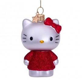 Kerstbal Hello Kitty in Rode Jurk