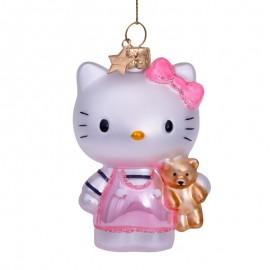 Kerstbal Hello Kitty Roze met Beer