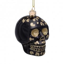Kerstbal Skull Zwart met Luipaarden Print