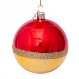 Kerstbal Rood-Goud met Glitter Rand