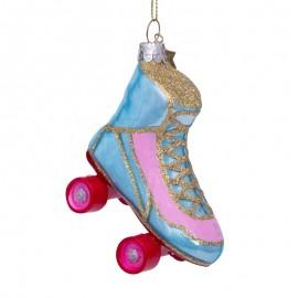 Kerstbal Rollerskate Blauw-roze