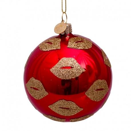 Kerstbal Rood met Gouden Glitter Lippen