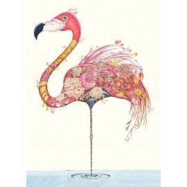 DM Wenskaart Flamingo