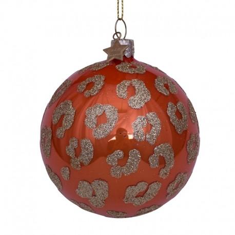 Kerstbal Oranje Opaal met Luipaarden Print