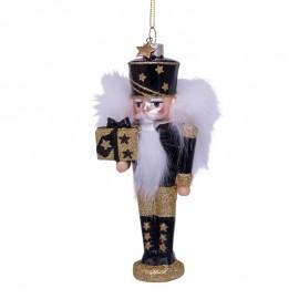 Kerstbal Notenkraker Zwart-goud met Glitters