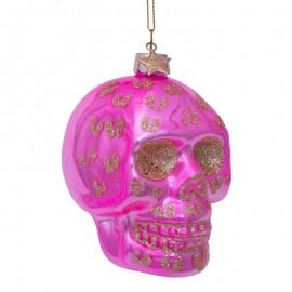 Kerstbal Skull Roze met Luipaarden Print