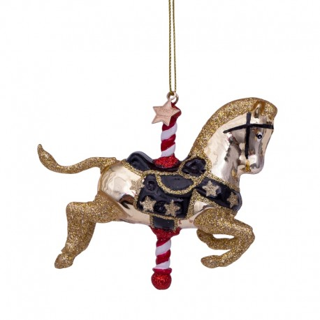 Kerstbal Draaimolen Paard Goud