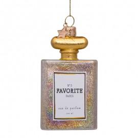 Kerstbal Parfum Fles met Glitters