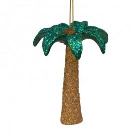 Kerstbal Palmboom Goud-Groen met Glitters